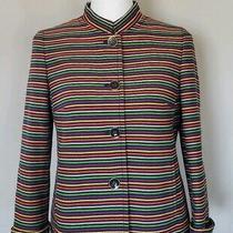 Talbots Women's Multicolor Stripes Blazer-Jacket Nehru Collar Size 2p Photo