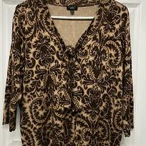 Talbots Women's Plus Silk Blend Brown Paisley 3/4 Sleeve v-Neck Sweater 2x Photo