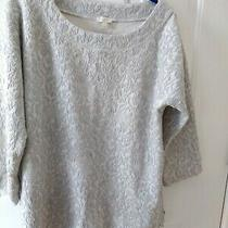 Talbots Women's Pullover Sweater Top Size L Cream and Grey Textured Knit  Photo
