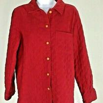 Talbots Women's Shirt Quilted Red Stretch Jacket Coat Buttons Lined Layer Size S Photo