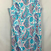 Talbots Women's Size 10 Fresco Paisley Sheath Blue Dress Sleeveless New 119  Photo