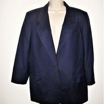 Talbots Women's Size 12 Long Jacket Blazer 3/4 Sleeve Lined Navy Blue 100% Wool Photo