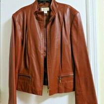 Talbots Womens Size 14 100% Leather Cognac Brown Full Zip Moto Jacket Photo