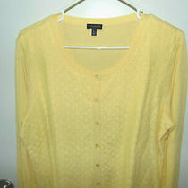 Talbots Women's Size Xl Cardigan Sweater Button Down Yellow  Nwot Photo