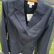 Talbots Women's Stretch Blazer Sz 10 Denim Blue Three Button Front Photo