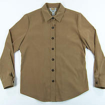 Talbots Women's Stretch Faux Suede Button Down Shirt Size Small Tan Poly/spandex Photo