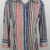 Talbots Women's Striped Button Down 100% Cotton Work Dress Shirt Sz 10 Photo