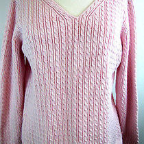 Talbots Women's Sweater Large 100% Cotton Light Pink Cable Z013 Photo