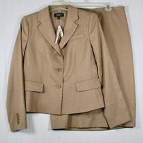 Talbots Women's Sz 12 Nwt Professional Suit Tan Skirt & Blazer Lightweight Wool  Photo