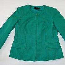 Talbots Women's Zipper Blazer Jacket Size 8 Green Suit Coat Zipper Front Lined Photo