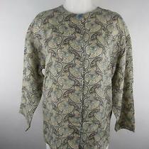 Talbots Women Sz 8 Multicolor Crewneck Button Down Floral 3/4 Sleeve Blouse Top Photo