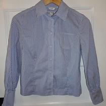 Talbots Womens 4 Petite Blue White Stripe Shirt Snap Front Collar Blouse  Photo