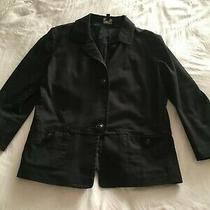 Talbots Womens Black Button Up Lined Jacket Blazer Pockets 3/4 Sleeve - Size 8 Photo