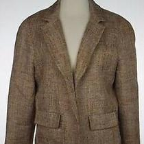 Talbots Womens Blazer Size 12 Brown Long Sleeve Linen Blend Open Front Photo