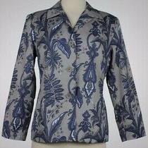 Talbots Womens Blazer Size 6 Gray Blue Printed Career Jacket Long Sleeve Cotton Photo