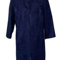 Talbots Womens Duster Suit Jacket Navy Blue Floral Long Sleeves Lined Petite 16 Photo