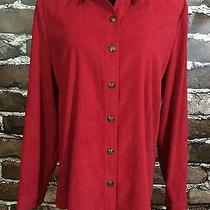 Talbots Womens Large Shirt Red Button Down Long Sleeve Suede-Like Finish Work Photo