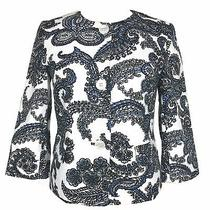Talbots Womens Paisley Blazer Jacket Size 6 White Blue Black Floral Print Career Photo