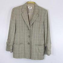 Talbots Womens Petites Green Beige Plaid Blazer Size 10 Long Sleeve Made in Usa Photo