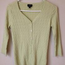 Talbots Womens Petites-Size Small Green Stretch Pima Cotton Cardigan Sweater Photo