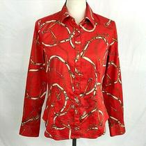 Talbots Womens Red Equestrian Horse Riding Print Stretch Shirt Size 8 Nwot Photo