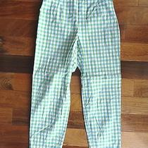 Talbots Womens Size 6 Green Blue White Paid/checked Capris Cropped Summer Pants Photo