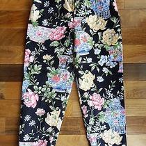 Talbots Womens Size 6 Petite Black Yellow Blue Flower Lined Capris Cropped Pants Photo