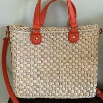 Talbots Womens Straw Tote Bag Purse Clutch Leather Handle Photo