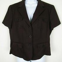 Talbots Womens Stretch Cotton Blend Brown Short Sleeve 3 Button Blazer Sz 12 Photo