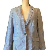 Talbots Womens Suit Jacket Blazer Blue Seersucker Long Sleeve Button Retro 14 Photo