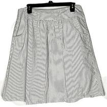 Talbots Womens White & Black Striped Stretch Skirt Flare Skirt Sz 14 Photo