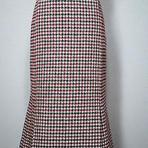 Talbots Wool Houndstooth Fit Flare Fluted Red Black White Work Winter Skirt 8 Photo