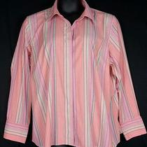Talbots Wrinkle Resistant Stretch L/ S Shirt Plus Sz 22w Pink Striped Worn Once Photo