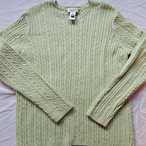 Talbots Xl Honeydew Green Cable Sweater Photo