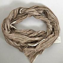 Taleen Scarf Linen Natural Brown Beige Striped  Rectangle 20 X 70 Photo
