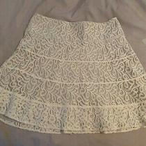 Tan and White Express Skirt - Cotton/nylon/spandex- Size 8- Side Zipper W/hook Photo