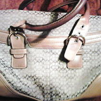 Tan Canvas and Leather Coach Shoulderbag Large Sized Photo