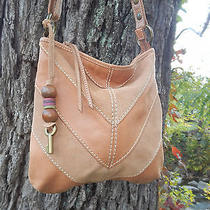 Tan Fossil Leather and Suede Women's Tote Shoulder Bag Photo