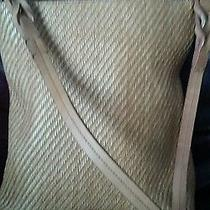 Tan Fossil Leather and Woven 95082 Bag Purse Perfect for Spring or Summer Photo