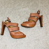 Tan Pink  Blush Leather Strappy Heels Collins J Crew 8.5 Photo