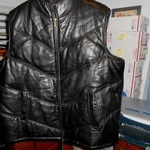 Tanners Avenue Men's Black Italian Lambs Leather Puff Insulated Zip Up Vest 4xl Photo