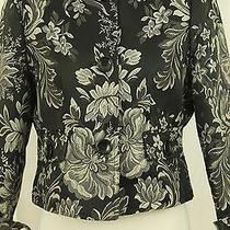 Tape Measure Anthropologie Asian Style Black White Short Jacket Size M Medium Photo