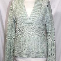 Tape Measure Anthropologie - L - Soft Mint Green Open Weave Wool Blend Sweater Photo