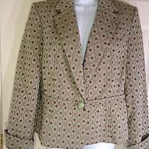 Tape Measure Anthropologie Size 12 Blazer Jacket Light Green Brown Photo
