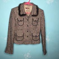 Tapemeasure Anthropologie Pink Beige Black Tweed Fur Trim Blazer - Size 6 Vguc Photo