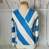 Tara by Vince Camuto Sweater Top Women's Sz S v-Neck Blue & Striped Lightweight Photo