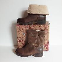 Tara M. Tiffany Convertible Leather Boot New Size 8 Brown Nib Shearling Lined Photo