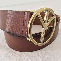 Target - Mossimo - Peace Sign - Wide - Brown Leather Belt - Size S - Small Photo