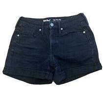 Target Mossimo Womens Hogh Rise Midi Black Denim Shorts Size 4 Photo