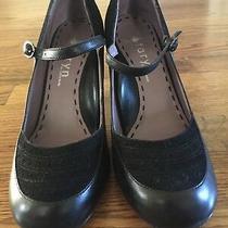 Taryn Rose Black Leather Suede Maryjane Ankle Strap Heels 8 Shoes Anthropologie Photo